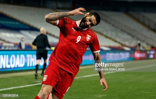 Serbia's Aleksandar Mitrovic celebrates his goal during the FIFA World Cup Qatar 2022 qualification football match between Serbia and Ireland, at the...