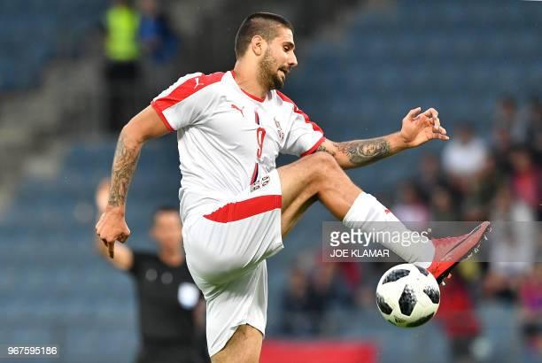 Serbia's Aleksandar Mitrovic controls the ball during the international friendly football match Serbia v Chile at the Merkur Arena in Graz Austria on...