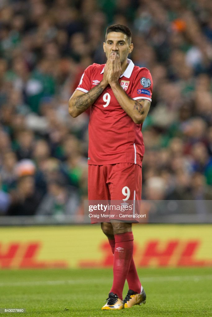 Serbias Aleksandar Mitrovic reacts after a missed chance during the FIFA 2018 World Cup Qualifier between Republic of Ireland and Serbia at Aviva Stadium on September 5, 2017 in Dublin, .