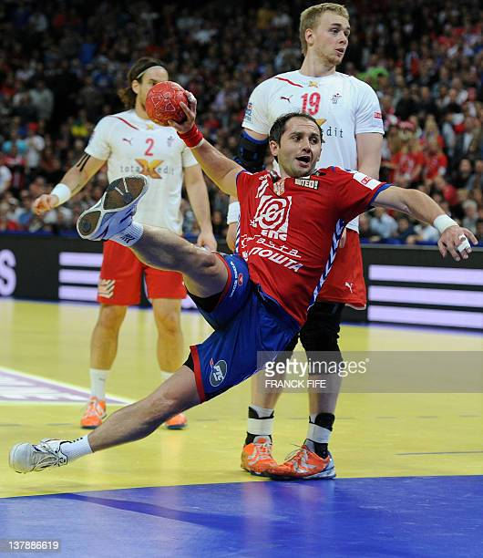 Serbia's Alem Toskic tries to score during the men's EHF Euro 2012 Handball Championship final Serbia vs Denmark on January 29 2012 at the Beogradska...