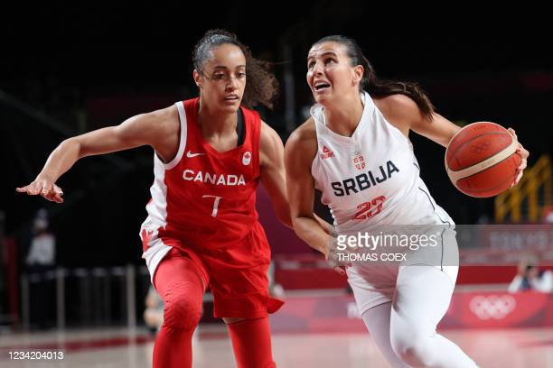 Serbia's Ana Dabovic dribbles the ball past Canada's Nayo Raincock-Ekunwe in the women's preliminary round group A basketball match between Serbia...
