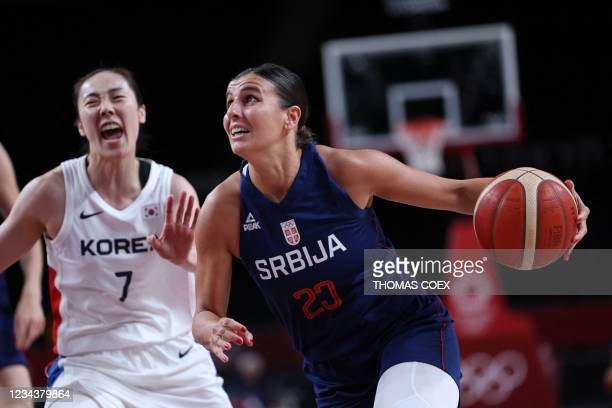 Serbia's Ana Dabovic runs with the ball past South Korea's Park Hyejin in the women's preliminary round group A basketball match between South Korea...