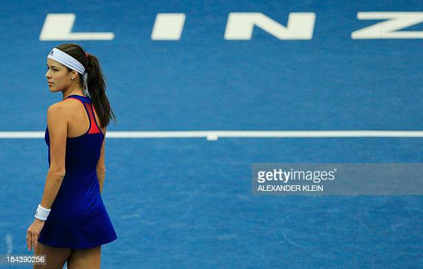 Serbia's Ana Ivanovic reacts during her final match against Germany's Angelique Kerber as part of the WTA tennis tournament held in Linz on October...