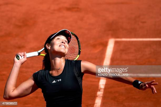Serbia's Ana Ivanovic serves against Czech Republic's Lucie Safarova during the women's semi-final match of the Roland Garros 2015 French Tennis Open...