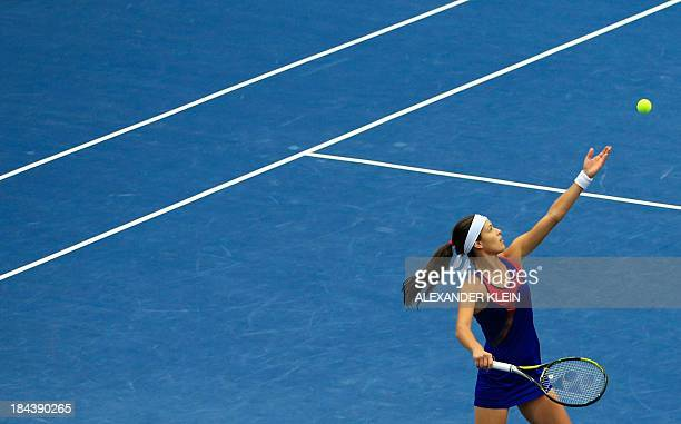 Serbia's Ana Ivanovic serves the ball to Germany's Angelique Kerber during their final match of the WTA tennis tournament in Linz Austria on October...