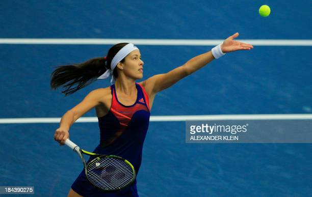 Serbia's Ana Ivanovic serves the ball to Germany's Angelique Kerber during her final match of the WTA tennis tournament held in Linz on October 13...