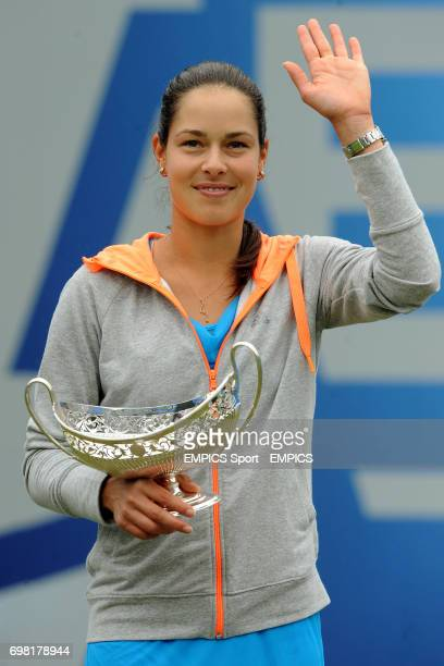 Serbia's Ana Ivanovic with the Maud Watson Trophy after winning the Final against Czech Republic's Barbora Zahlavova Strycova at the Aegon Classic at...