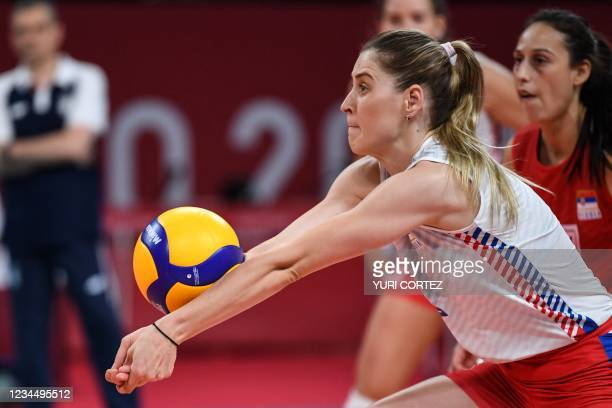 Serbia's Bianka Busa hits the ball in the women's semi-final volleyball match between USA and Serbia during the Tokyo 2020 Olympic Games at Ariake...