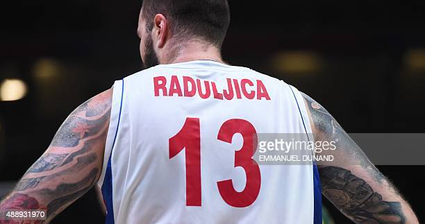 Serbia's center Miroslav Raduljica is pictured during the semifinal basketball match between Serbia and Lithuania at the EuroBasket 2015 in Lille...