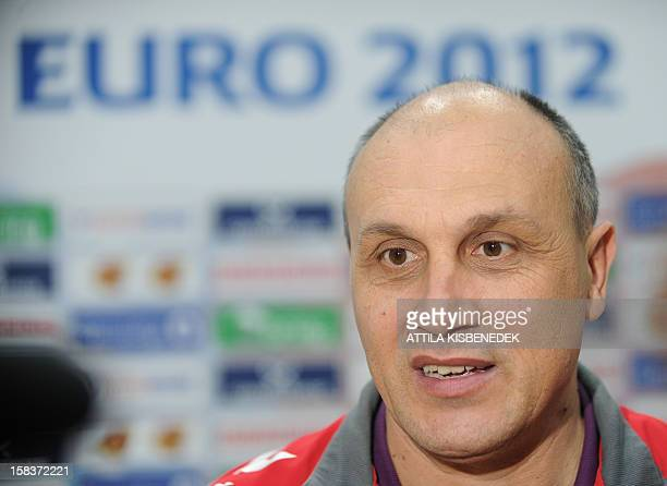 Serbia's coach Sasa Boskovic answers journalists during a media day of the 2012 EHF European Women's Handball Championship on December 14 at the...