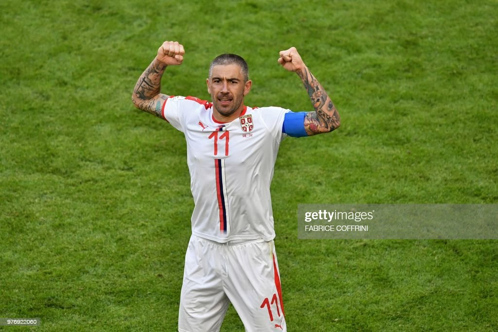 TOPSHOT - Serbia's defender Aleksandar Kolarov celebrates after scoring a goal during the Russia 2018 World Cup Group E football match between Costa Rica and Serbia at the Samara Arena in Samara on June 17, 2018. (Photo by Fabrice COFFRINI / AFP) / RESTRICTED