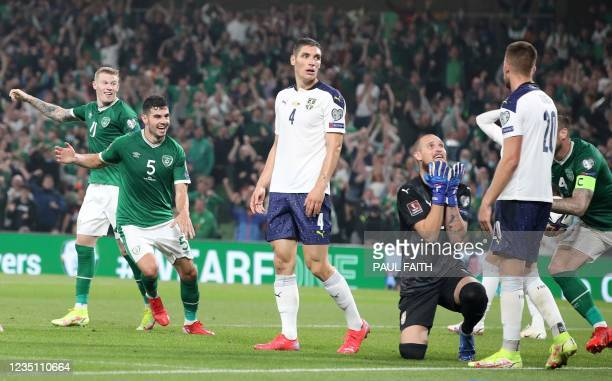 Serbia's defender Nikola Milenkovic reacts after conceding an own goal during the FIFA World Cup Qatar 2022 qualifying round Group A football match...