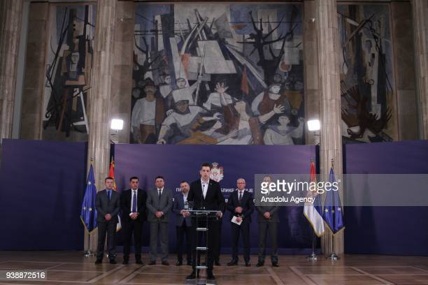 Serbia's Director of the Office for Kosovo and Metohija Marko Djuric addresses during a press conference over his deportation and detention in Kosovo...