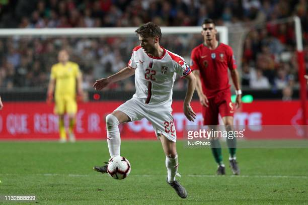 Serbia's forward Adem Ljajic in action during the UEFA EURO 2020 group B qualifying football match Portugal vs Serbia at the Luz Stadium in Lisbon...