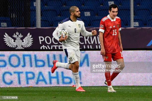 Serbia's forward Aleksandar Mitrovic celebrates after scoring a goal during the UEFA Nations League football match Russia against Serbia at Moscow's...
