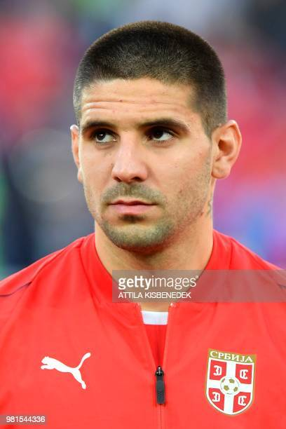Serbia's forward Aleksandar Mitrovic poses for a photo before their Russia 2018 World Cup Group E football match between Serbia and Switzerland at...