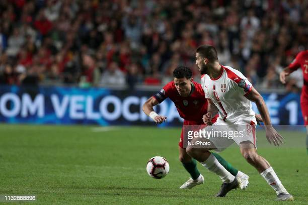 Serbia's forward Aleksandar Mitrovic vies with Portugal's defender Pepe during the UEFA EURO 2020 group B qualifying football match Portugal vs...
