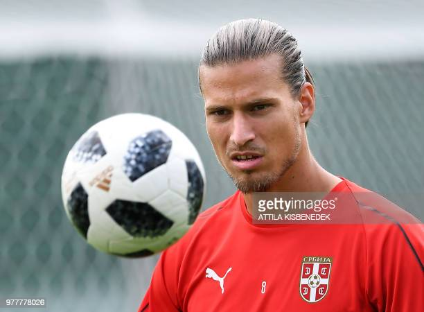 Serbia's forward Aleksandar Prijovic attends a training session at the team's base camp in Svetlogorsk some 50 km north of Kaliningrad on June 18...
