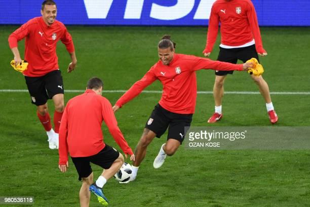 Serbia's forward Aleksandar Prijovic takes part in a training session at the Kaliningrad Stadium in Kaliningrad on June 21 2018 on the eve of the...