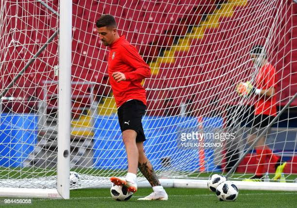 Serbia's forward Aleksandar Prijovic takes part in a training session at the Spartak stadium in Moscow on June 26 on the eve of the Russia 2018 World...