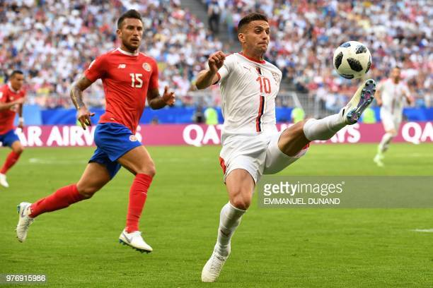 TOPSHOT Serbia's forward Dusan Tadic controls the ball during the Russia 2018 World Cup Group E football match between Costa Rica and Serbia at the...