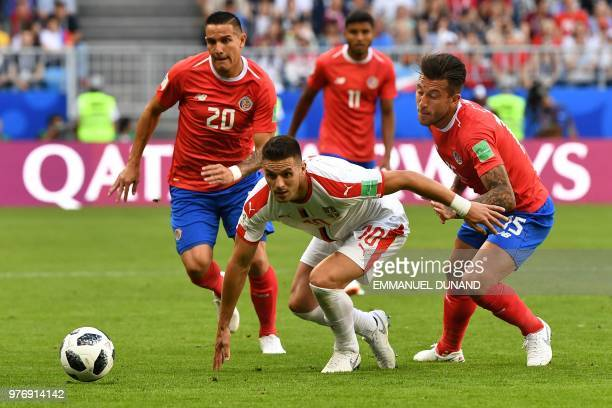 TOPSHOT Serbia's forward Dusan Tadic rins after the ball during the Russia 2018 World Cup Group E football match between Costa Rica and Serbia at the...