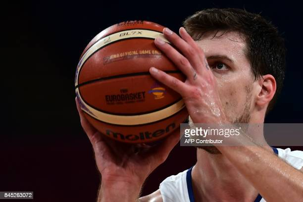 Serbia's forward Stefan Bircevic prepares to shoot during the FIBA Eurobasket 2017 men's round 16 basketball match between Serbia and Hungary at...