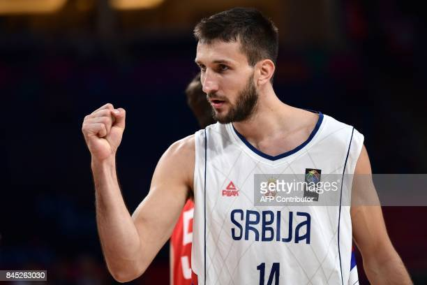 Serbia's forward Stefan Bircevic reacts during the FIBA Eurobasket 2017 men's round 16 basketball match between Serbia and Hungary at Sinan Erdem...