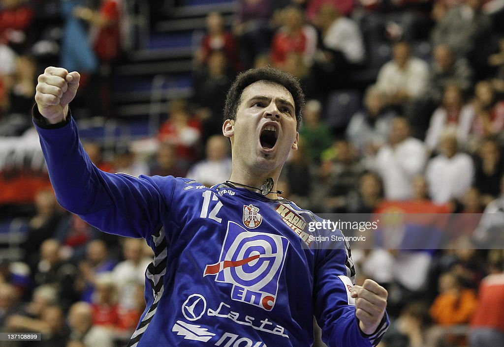 Serbia's goalkeeper Darko Stanic celebrates during the Men's European Handball Championship group A match between Poland and Serbia at Pionir Sports Centre on January 15, 2011 in Belgrade, Serbia.