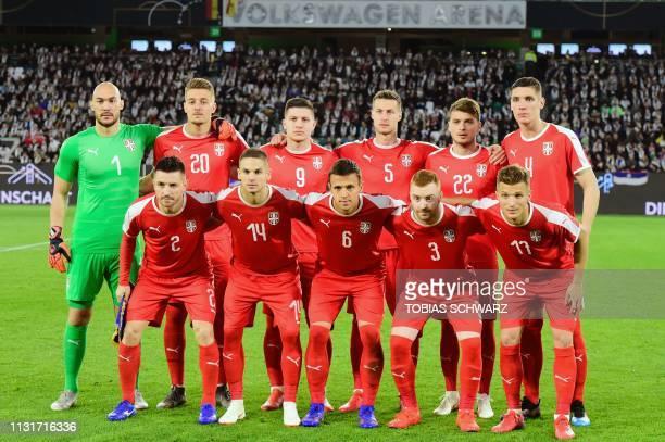 Serbia's goalkeeper Marko Dmitrovic Serbia's midfielder Sergej MilinkovicSavic Serbia's forward Luka Jovic Serbia's defender Uros Spajic Serbia's...