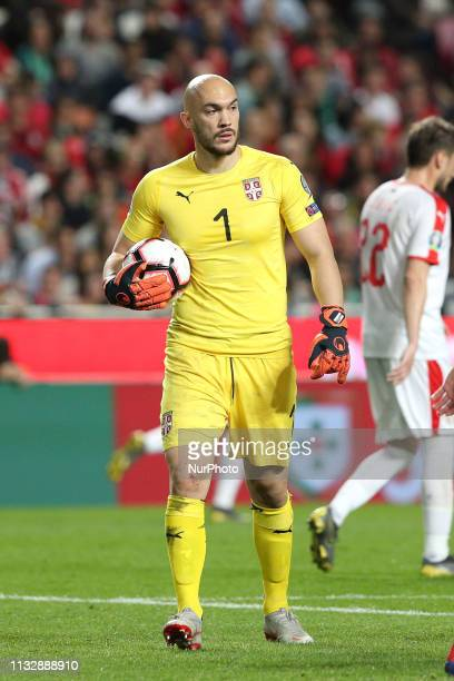 Serbia's goalkeeper Nikola Vasiljevic in action during the UEFA EURO 2020 group B qualifying football match Portugal vs Serbia at the Luz Stadium in...