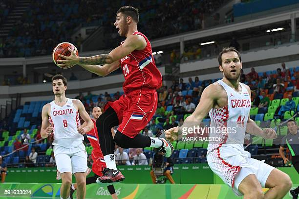 Serbia's guard Stefan Jovic jumps during a Men's quarter final basketball match between Serbia and Croatia at the Carioca Arena 1 in Rio de Janeiro...
