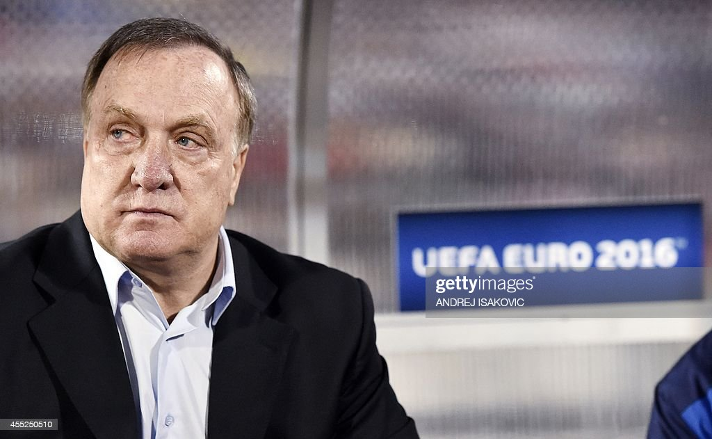 Serbia's head coach Dick Nicolaas Advocaat is seen prior to the friendly football match between Serbian and France in Belgrade on September 7, 2014.
