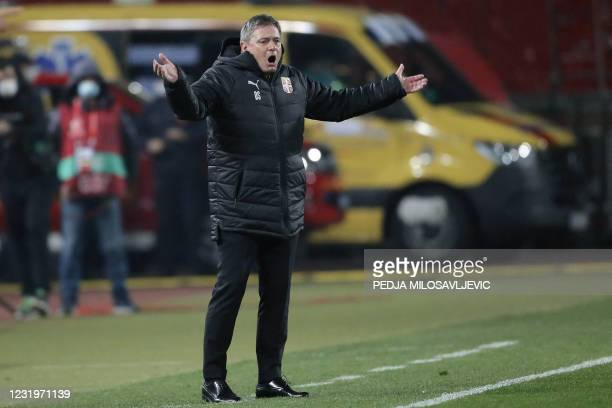 Serbia's head coach Dragan Stojkovic gestures during the FIFA World Cup Qatar 2022 qualification Group A football match between Serbia and Portugal...