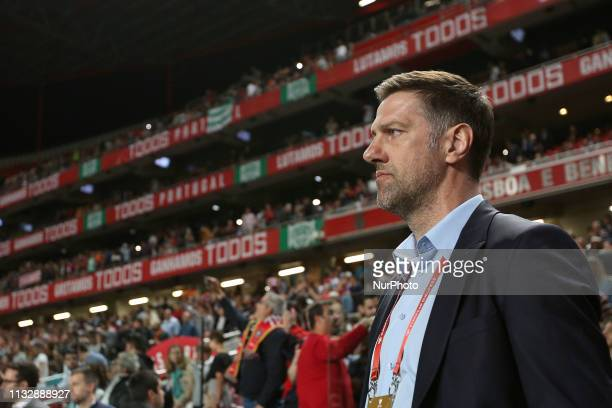 Serbia's head coach Mladen Krstajic during the UEFA EURO 2020 group B qualifying football match Portugal vs Serbia at the Luz Stadium in Lisbon...