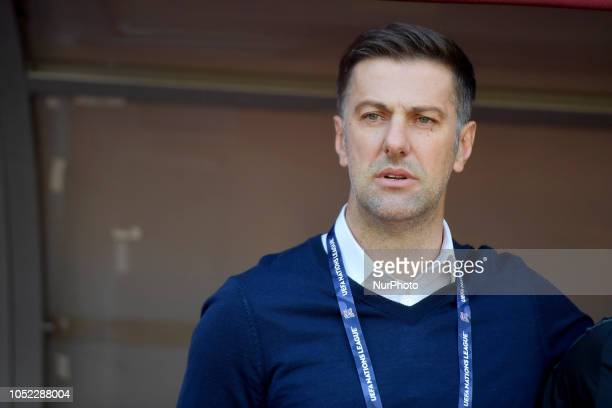 Serbia's head coach Mladen Krstajic during the UEFA Nations League league 4 group 4 soccer match between Romania and Serbia at the National Arena in...