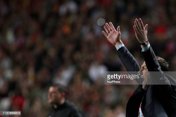 Serbia's head coach Mladen Krstajic gestures during the UEFA EURO 2020 group B qualifying football match Portugal vs Serbia at the Luz Stadium in...