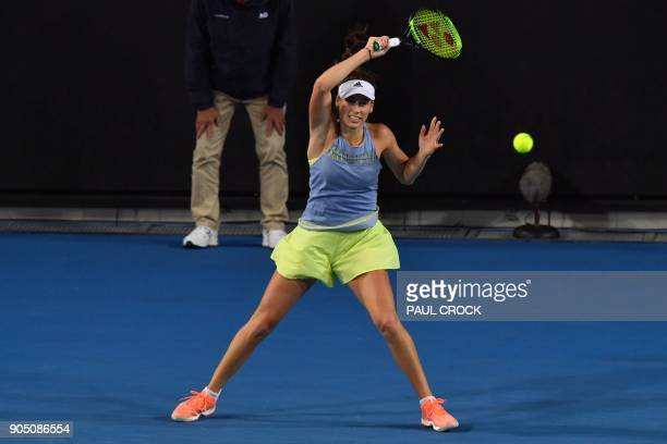 Serbia's Ivana Jorovic plays a forehand return to Ukraine's Elina Svitolina during their women's singles first round match on day one of the...