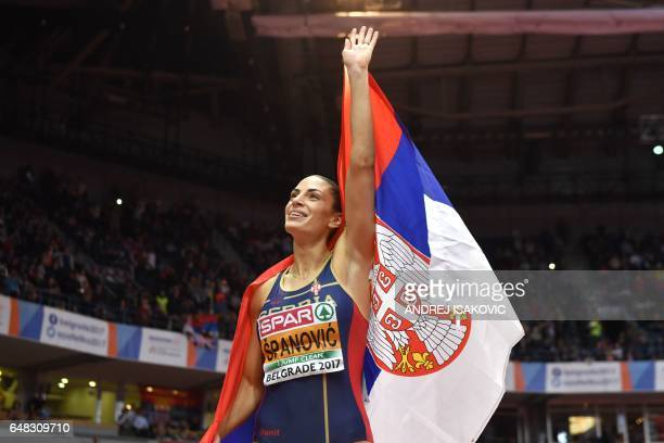 TOPSHOT Serbia's Ivana Spanovic celebrates after winning the women's long jump final at the 2017 European Athletics Indoor Championships in Belgrade...