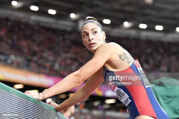 Serbia's Ivana Spanovic competes in the final of the women's long jump athletics event at the 2017 IAAF World Championships at the London Stadium in...