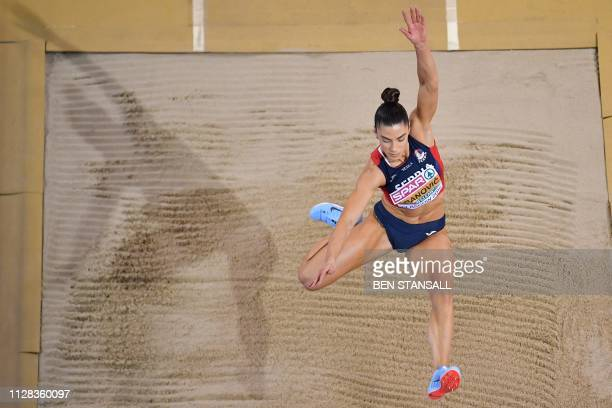 Serbia's Ivana Spanovic competes in the womens long jump event at the 2019 European Athletics Indoor Championships in Glasgow on March 2 2019