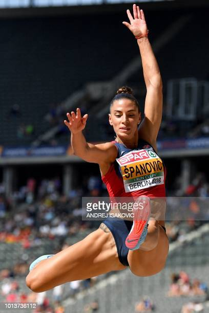 Serbia's Ivana Spanovic competes in the women's long jump qualifying event during the European Athletics Championships at the Olympic stadium in...