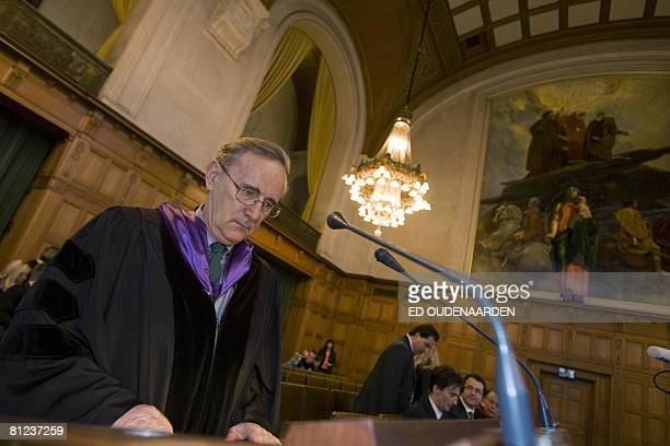 Serbia's lawyer Tibor Varady waits on May 26, 2008 in The Hague for the International Court of Justice hearing of a complaint filed in 1999 by...