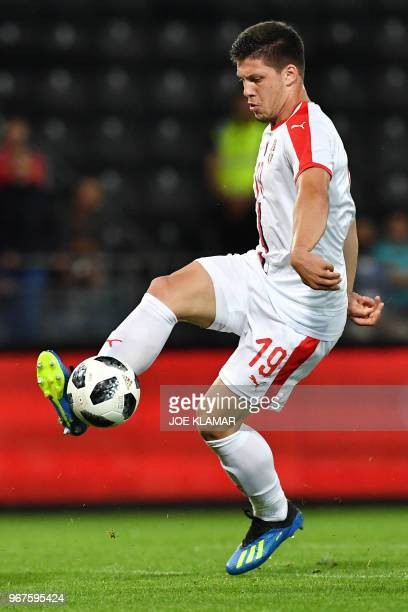 Serbia's Luka Jovic controls the ball during the international friendly football match Serbia v Chile at the Merkur Arena in Graz Austria on June 4...