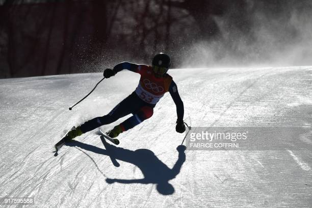 Serbia's Marko Stevovic competes in the Men's Alpine Combined Downhill at the Jeongseon Alpine Center during the Pyeongchang 2018 Winter Olympic...