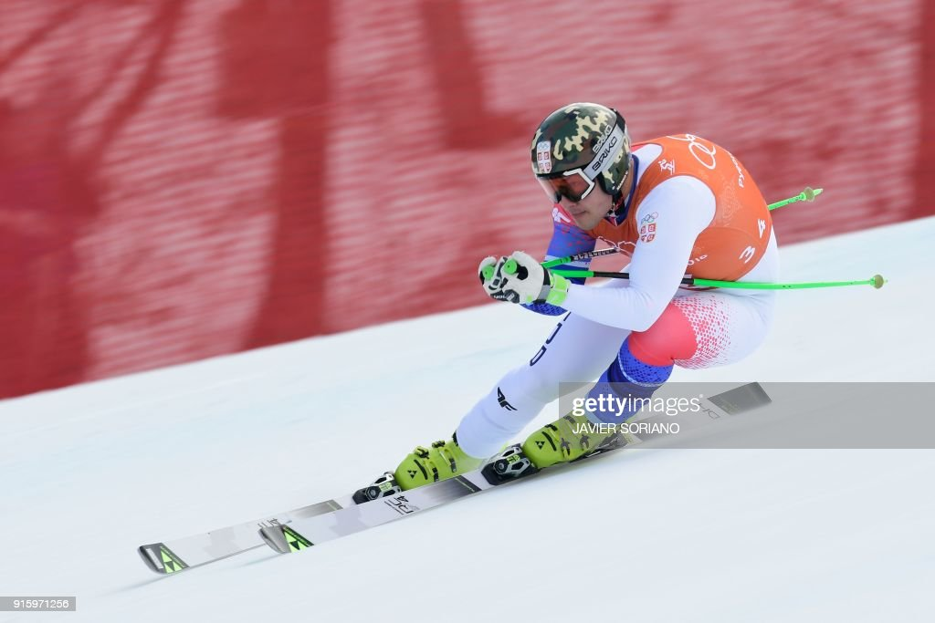 Serbia's Marko Vukicevic takes part in the Men's Downhill 2nd training at the Jeongseon Alpine Center during the Pyeongchang 2018 Winter Olympic Games in Pyeongchang on February 9, 2018. /