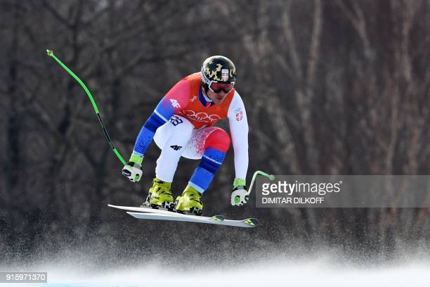 TOPSHOT Serbia's Marko Vukicevic takes part in the Men's Downhill 2nd training at the Jeongseon Alpine Center during the Pyeongchang 2018 Winter...