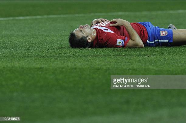 Serbia's midfielder Dejan Stankovic reacts at the end of the Group D first round 2010 World Cup football match Australia vs Serbia on June 23, 2010...