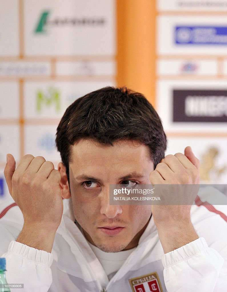 Serbia's midfielder Gojko Kacar attends a press conference at the hotel in Johannesburg, on June 16, 2010 during the 2010 World Cup in South Africa.