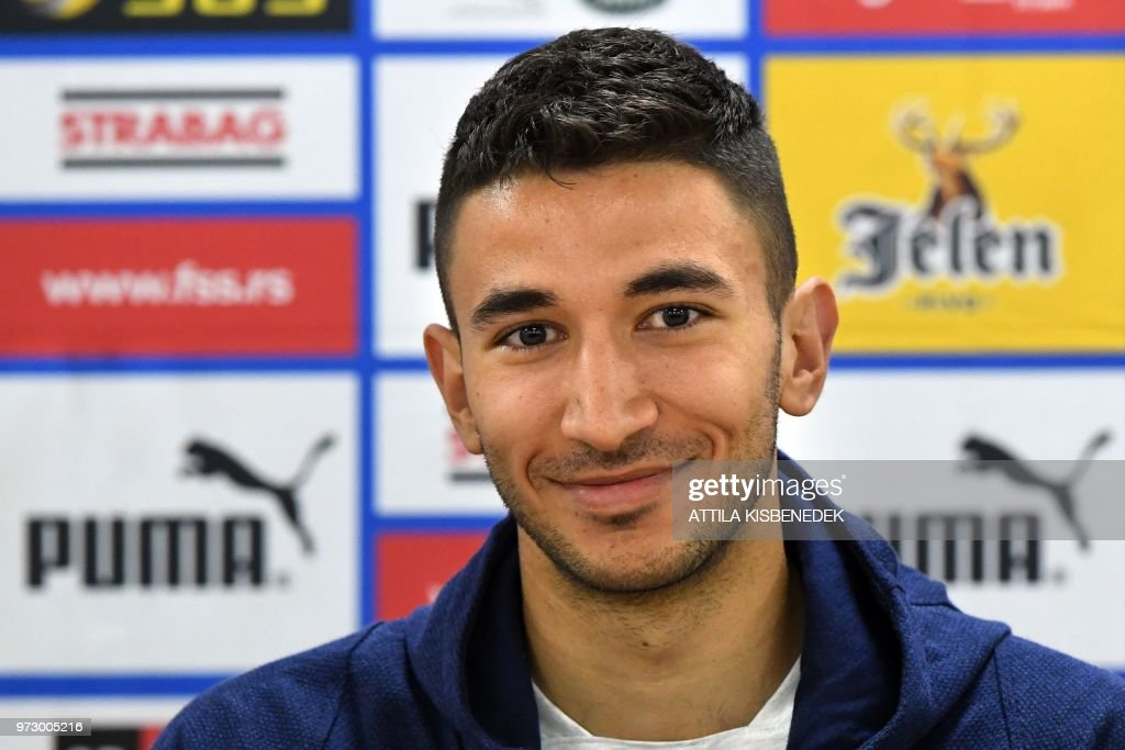 Serbia's midfielder Marko Grujic reacts during a press conference at the base camp of the Serbian national team at the Svetlogorsk's stadium, in Svetlogorsk, on June 13, 2018, ahead of the Russia 2018 World Cup football tournament.